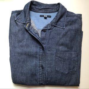 Uniqlo Womens Dark Blue Denim Button Down Shirt